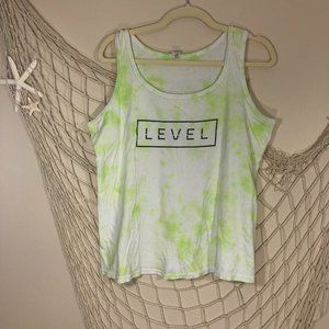 "ANVIL by Gildan ""LEVEL"" Green & White Tie-Dye Tank"